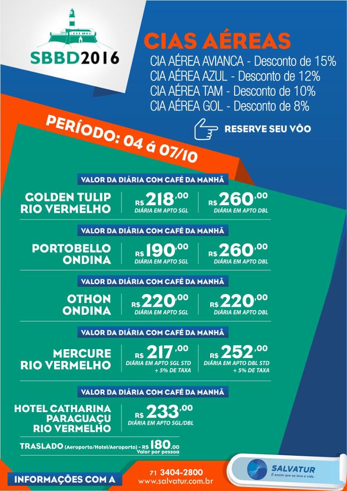 Pacote de Viagem SBBD - Simposio Brasileiro de Banco de Dados 2016