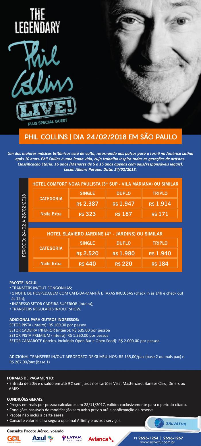 Pacote de Viagem Phil Collins São Paulo