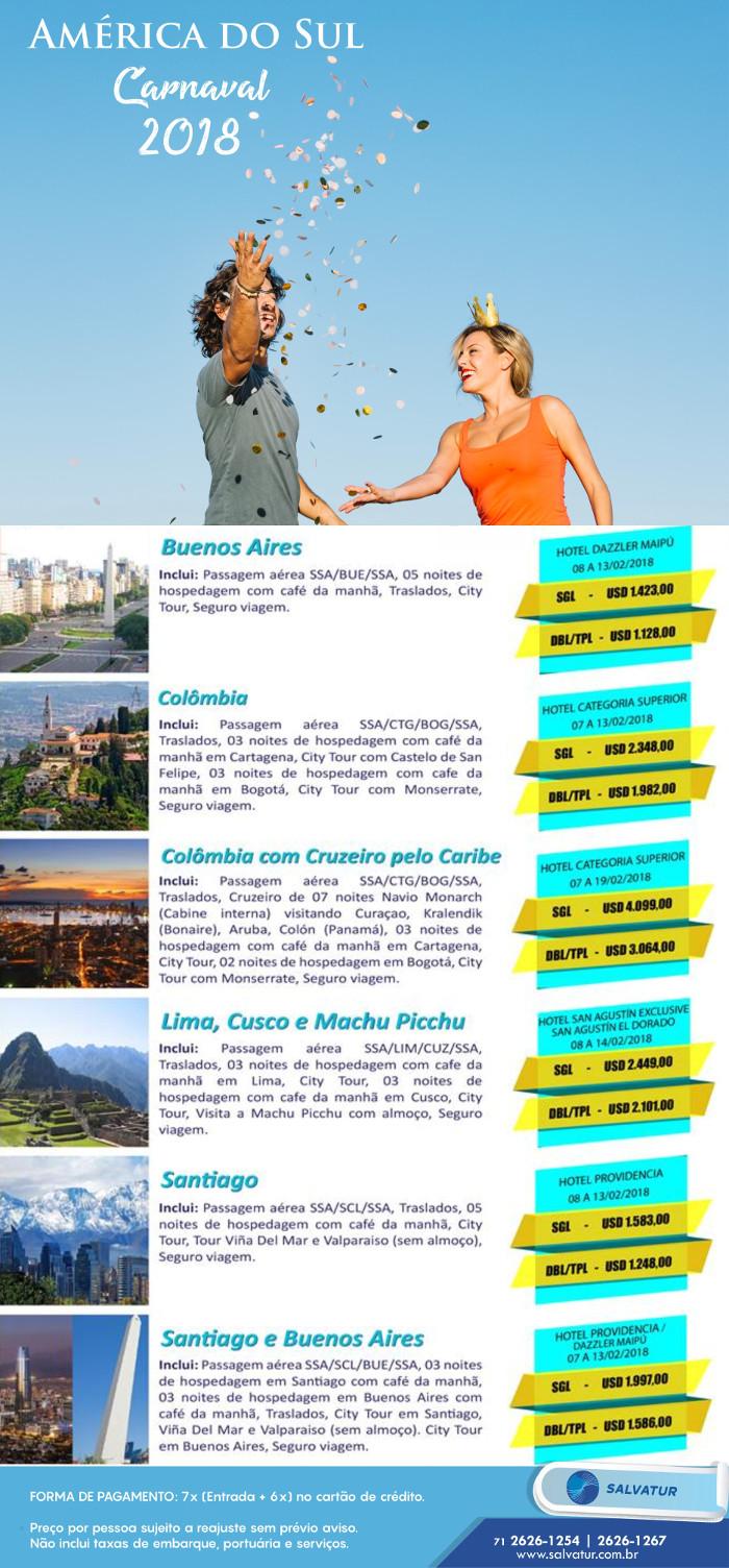 Pacote de Viagem Carnaval na America do Sul 2018